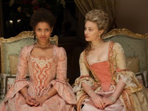 Gugu Mbatha-Raw and Sarah Gadon as Dido and Elizabeth