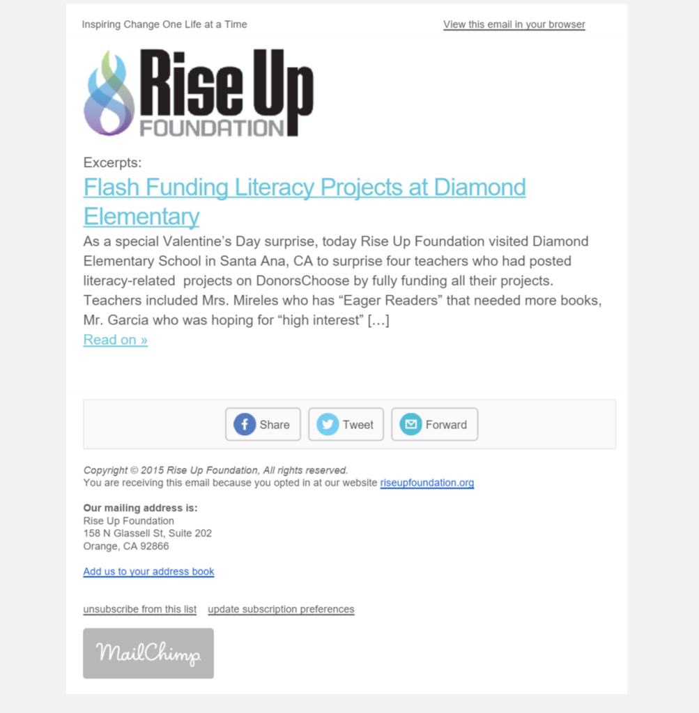 Rise Up Newsletter